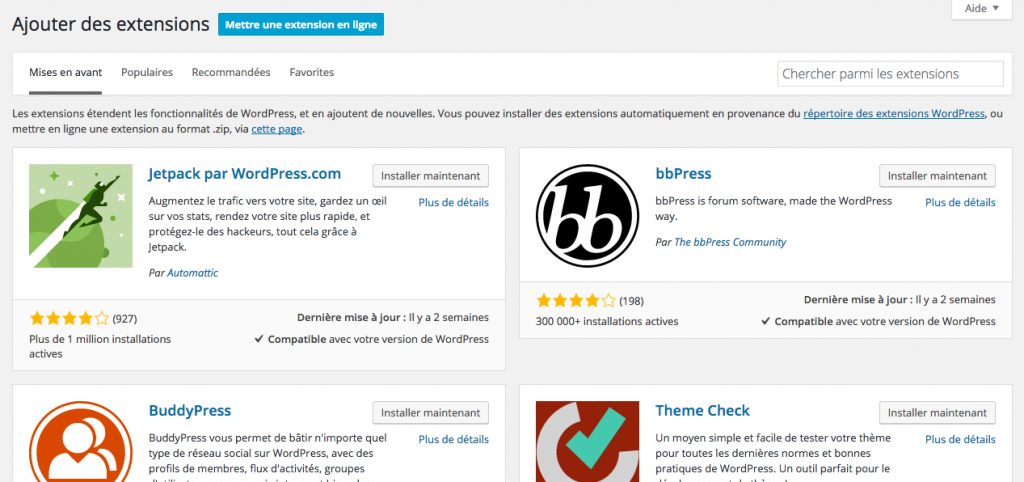 extension ou plugin wordpress